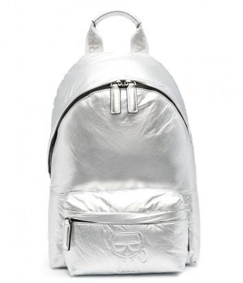 Серебристый рюкзак KARL LAGERFELD Ikonik 210W3008 из глянцевого нейлона