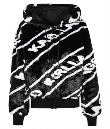 Двухсторонняя куртка-бомбер KARL LAGERFELD 206W1515 из экомеха черно-белая