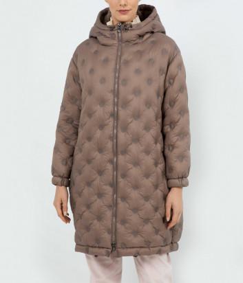 Стеганная куртка-пуховик PESERICO 60S24350C0 с капюшоном коричневая