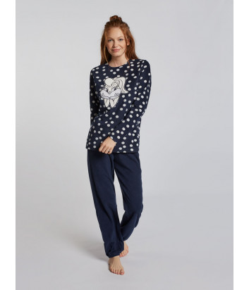Женская пижама GISELA 21740 синяя с принтом