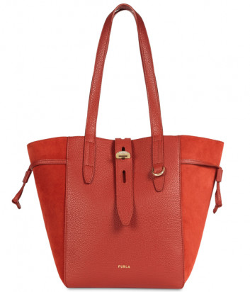 Кожаная сумка-тоут FURLA Net M BZT0FUA с замшевыми вставками терракотовая
