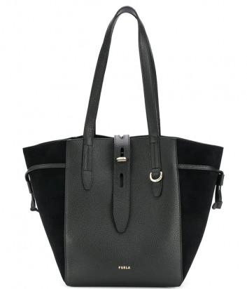 Кожаная сумка-тоут FURLA Net M BZT0FUA с замшевыми вставками черная