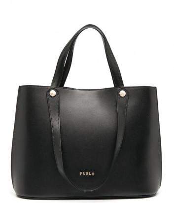 Кожаная сумка FURLA Musa L Tote WB00070 черная с белыми вставками