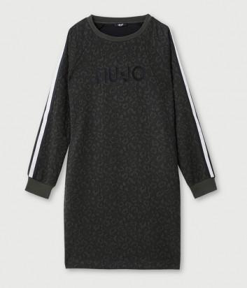 Платье LIU JO Sport TF170 с анималистическим принтом цвета хаки