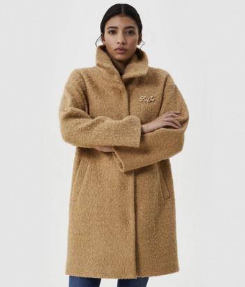Шуба-пальто LIU JO WF0425 из мягкого искусственного меха карамельная