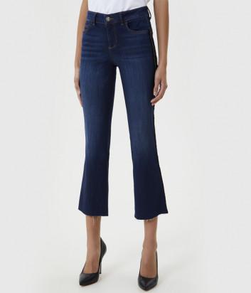 Укороченные джинсы LIU JO UF0021D4510 с необработанным срезом синие