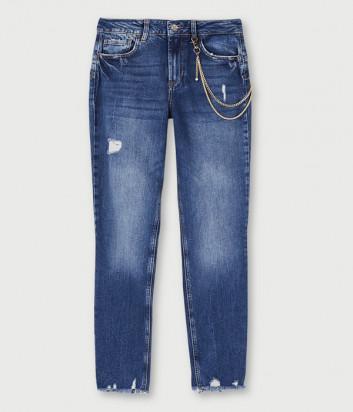 Зауженные джинсы LIU JO UF0034D4524 с цепочкой синие