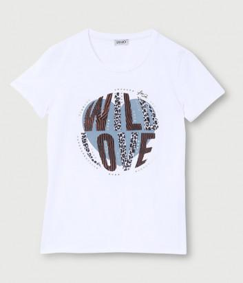 Футболка LIU JO WF0098 белая с принтом