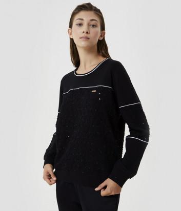 Толстовка LIU JO TF0147 с вышивкой и аппликациями черная