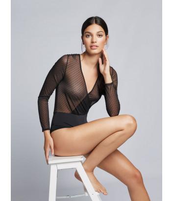 Черное боди-блуза GISELA 30285 с длинным рукавом