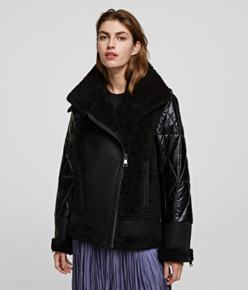 Байкерская куртка-дубленка KARL LAGERFELD 210W1500 стеганная черная