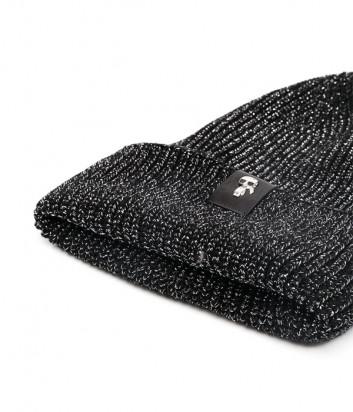 Трикотажная шапка KARL LAGERFELD Ikonik 210W3402 с люрексом черная
