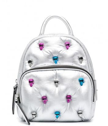 Серебристый рюкзак KARL LAGERFELD Ikonik 210W3098 из стёганого металлизированного нейлона