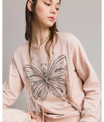 Толстовка TWIN-SET 191TP2590 с вышивкой в виде бабочки и бахромой