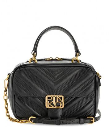 Кожаная сумка PINKO Logo Mini Square Chevronne 1P21UX с внешним карманом черная