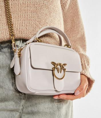 Кожаная сумка PINKO Love Square Simply Mini 1P21UD с внешним карманом белая