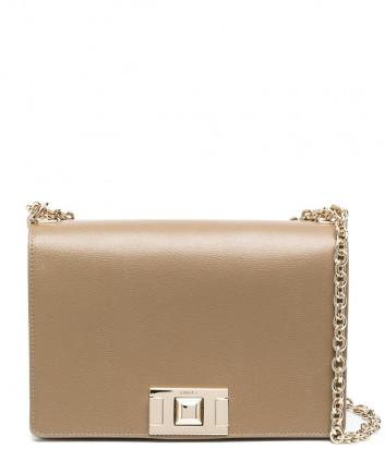 Кожаная сумка на цепочке FURLA Mimi S BVD6NMB с откидным клапаном коричневая