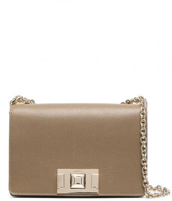 Кожаная сумочка на цепочке FURLA Mimi Mini BVA6NMB с откидным клапаном коричневая