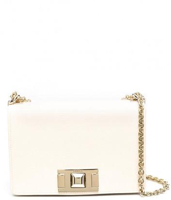 Кожаная сумочка на цепочке FURLA Mimi Mini BVA6NMB с откидным клапаном молочная