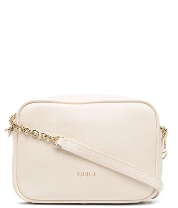Кожаная сумка FURLA Real Mini WB00243 на цепочке молочная