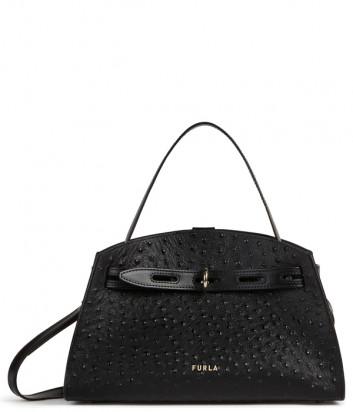Черная сумка FURLA Margherita M WB00174 в коже с тиснением под страуса