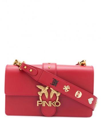 Кожаная сумка PINKO Classic Love Bag Icon 1P21SD с декором красная