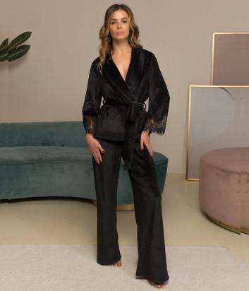 Велюровый комплект FELENA 108/720 кардиган и брюки черный