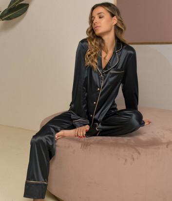 Шёлковый комплект FELENA 757/750 рубашка и брюки черный