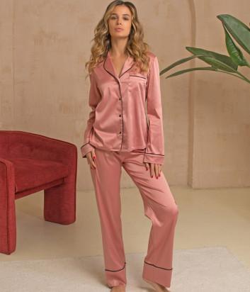 Шёлковый комплект FELENA 757/750 рубашка и брюки розовый