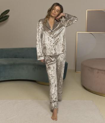 Костюмная пижама FELENA 757/750 из мраморного велюра с шелковым кантом серебристая