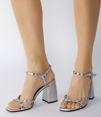 Кожаные босоножки WHAT FOR Trinity на широком каблуке серебристые