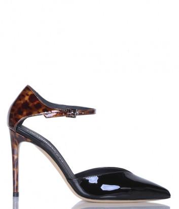 Лаковые туфли NINALILOU 302521 черные с принтом