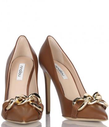 Кожаные туфли NINALILOU 302508 коричневые с декором