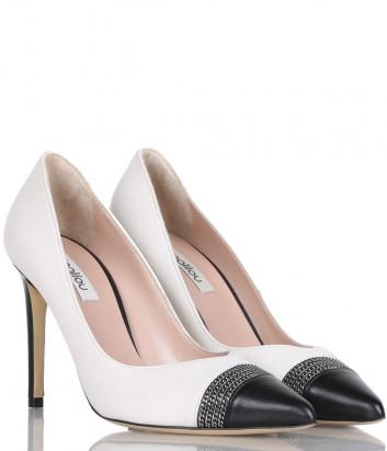 Кожаные туфли NINALILOU 302523 комбинированные бело-черные