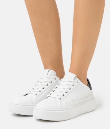 Белые кроссовки KARL LAGERFELD KL62210 с тисненым логотипом