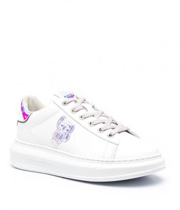 Белые кроссовки KARL LAGERFELD Ikonik KL62589 с переливающимися элементами