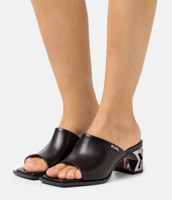 Черные кожаные мюли KARL LAGERFELD KL30600 на фигурном каблуке
