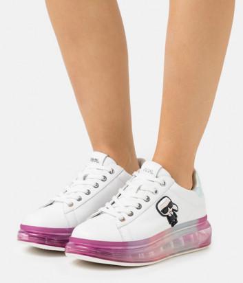 Белые кроссовки KARL LAGERFELD Ikonik KL62689 на розовой полупрозрачной платформе