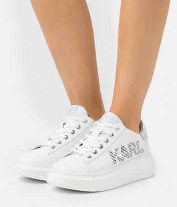 Белые кроссовки KARL LAGERFELD KL62520 с перфорированным логотипом
