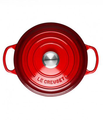 Чугунная кастрюля LE CREUSET эмалированная с толстым дном (3,3 л/22 см) красная