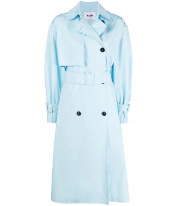 Двубортное пальто MSGM 3041MDC05 с поясом голубое