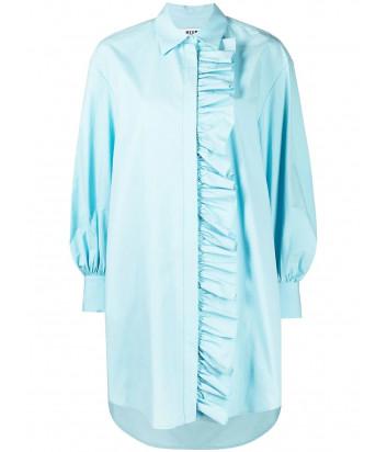 Платье-рубашка MSGM 3041MDA02 с оборками голубое