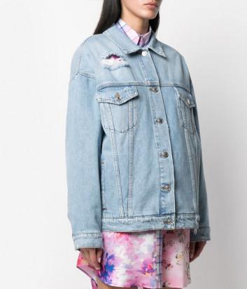 Джинсовая куртка MSGM 3041MDH42LX с эффектом потертости и логотипом