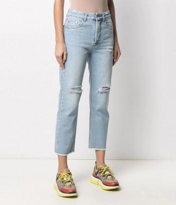 Укороченные джинсы MSGM 3041MDP44LX с эффектом потертости