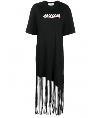 Платье-футболка MSGM 3041MDA63 с бахромой черное