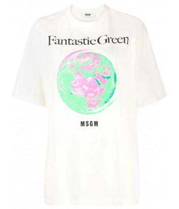Молочная футболка MSGM 3041MDM190 с принтом Fantastic Green