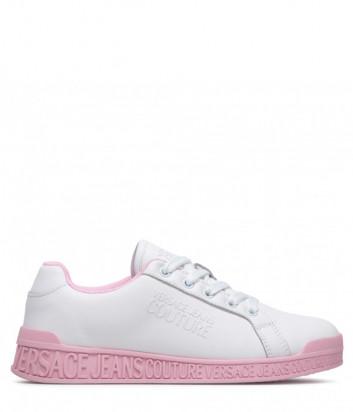 Кожаные кеды VERSACE Jeans Couture E0VWASP8 белые на розовой подошве