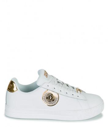 Кожаные кеды VERSACE Jeans Couture E0VWASK6 белые с золотыми эмблемами