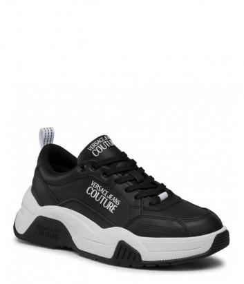 Кожаные кроссовки VERSACE Jeans Couture E0YWASF6 на массивной подошве черные