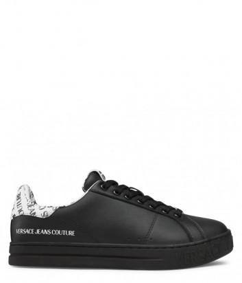 Кожаные кеды VERSACE Jeans Couture E0YWASK3 черные с надписями